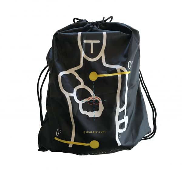 front view of and full gskarate drawstring bag
