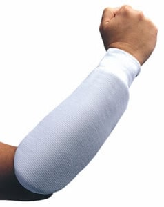 mans arm posing with a white forearm protector