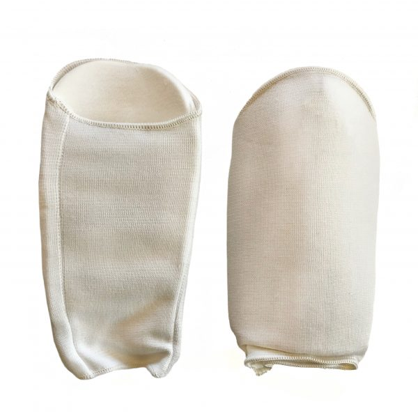 back and front view of white forearm protectors