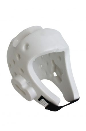 angled view of a white head protector