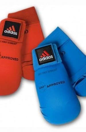 front view of WKF approved Adidas blue and red punching mitts