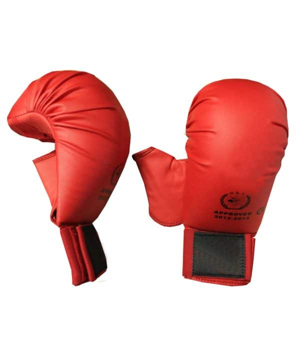 back and side view of WKF approved punching mitts with thumbs