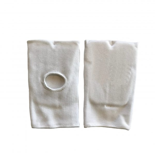 back and front view of white punching mitts