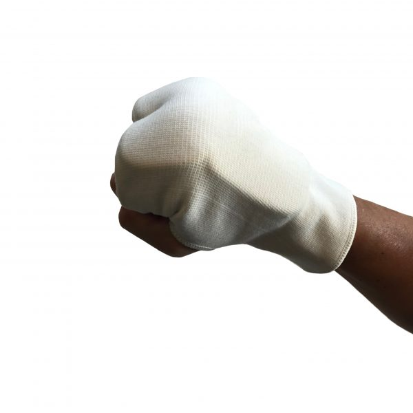 mans hand modelling a white punching mitt