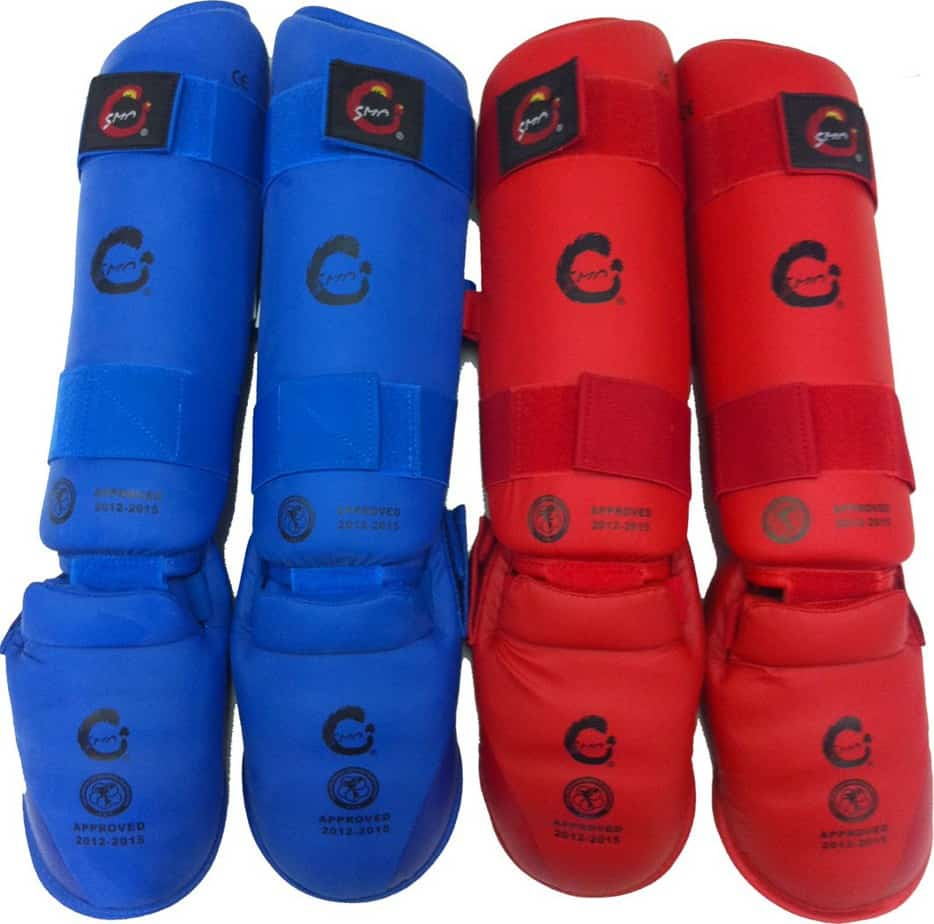 front view of blue and red shin and instep protectors