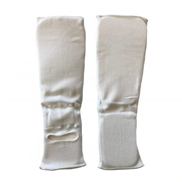 back and front view of white shin and instep protector