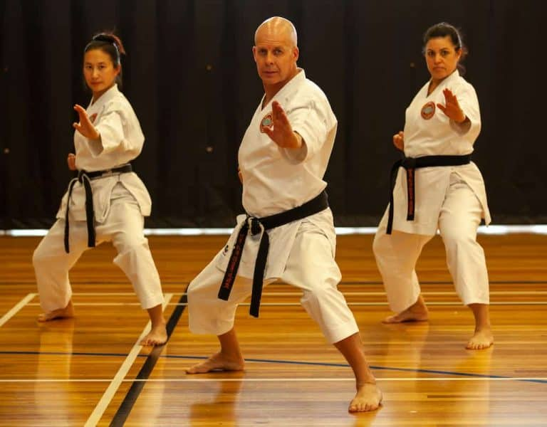 blackbelt group standing in fudo dachi executing a knife hand block