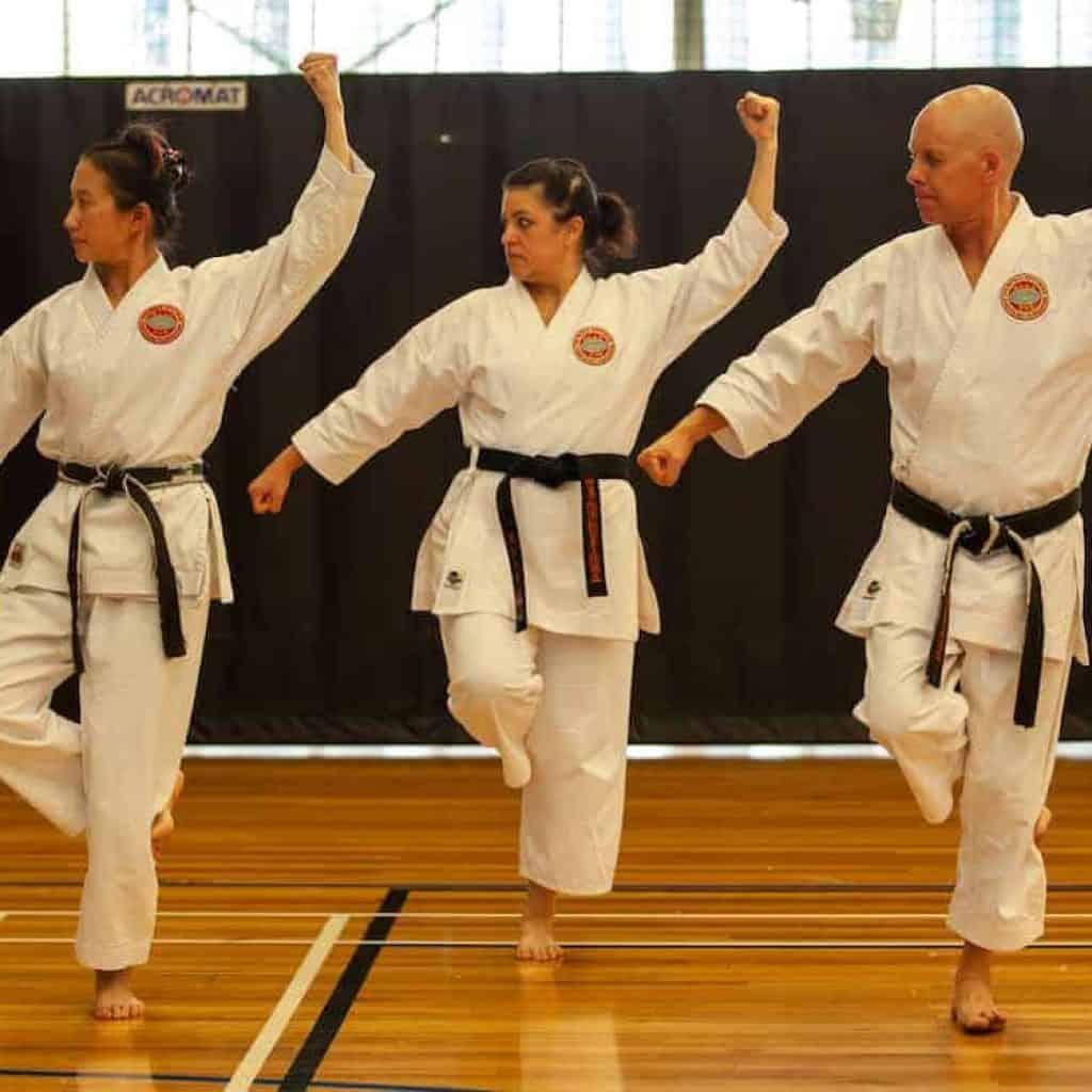 group of blackbelts doing manj-uke on one leg during kata
