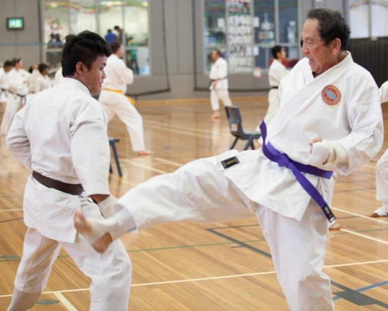young brown belt blocking older mans front kick