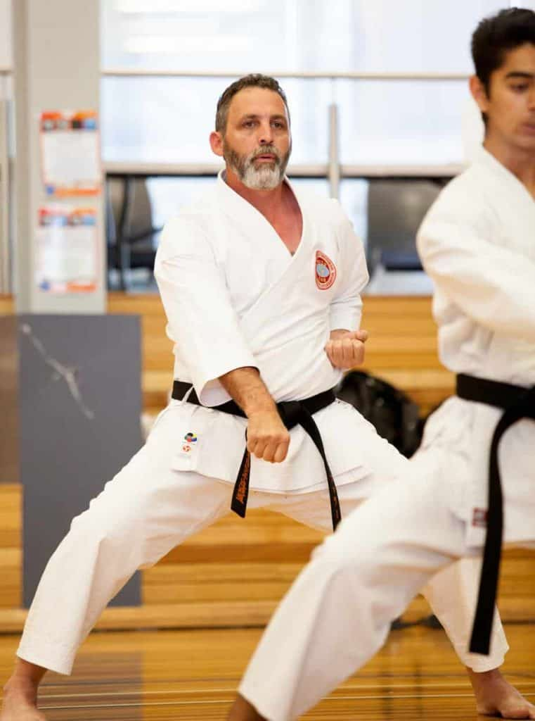 two black belts executing a downward punch facing the camera
