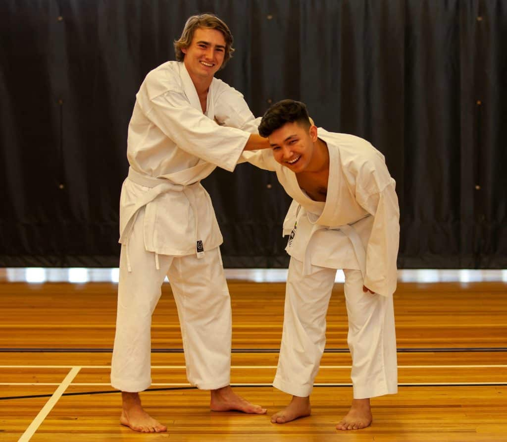 Karate for teens - white belts learning self defence through a wrist lock