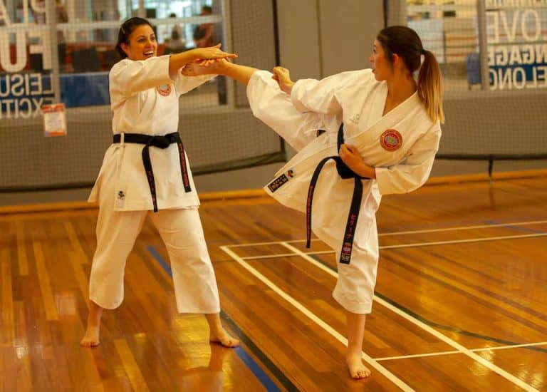 mother and daughter black belts practicing a head kick and block